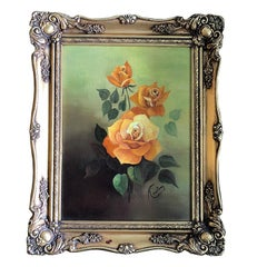 Oil on Canvas Floral Rose Painting Green Background Orange Roses Giltwood Frame