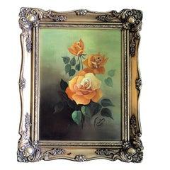 Oil on Canvas Floral Rose Painting Green Background Orange Roses Giltwood Frame