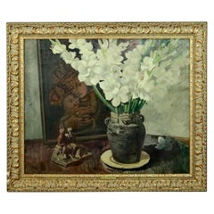 Oil on Canvas Floral Still Life with Gladioli by William Starkweather circa 1939