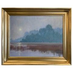 """Oil on Canvas Framed Painting """"Fog Blankets the Marsh"""", Michael Reibel"""