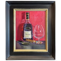 """Oil on Canvas Framed Painting """"Hennessy and La Aroma de Cuba"""", Michael Reibel"""