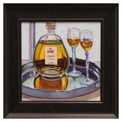 "Oil on Canvas Framed Painting ""Hine Cognac for Two"", Michael Reibel"