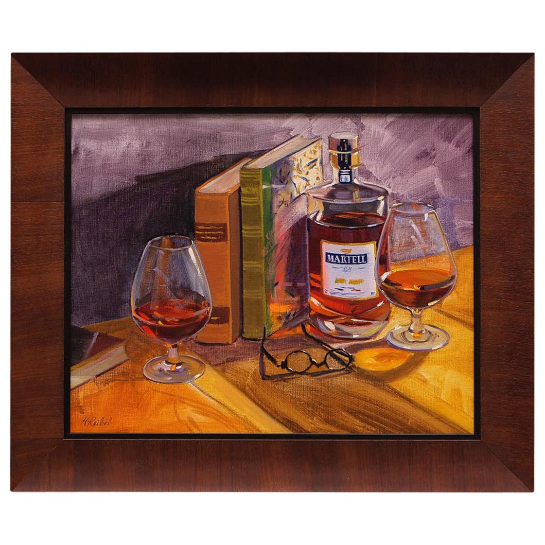 """Oil on Canvas Framed Painting """"Some R&R with Martell"""", Michael Reibel"""