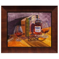 "Oil on Canvas Framed Painting ""Some R&R with Martell"", Michael Reibel"