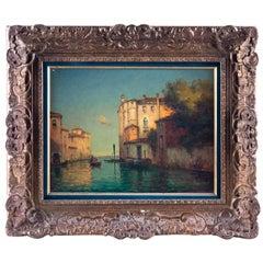 Oil on Canvas Gondolas on Canal in Venice, by Bouvard, circa 1920
