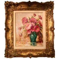Oil on Canvas Gustave Weigand German 1860-1930 Signed Floral Still Life