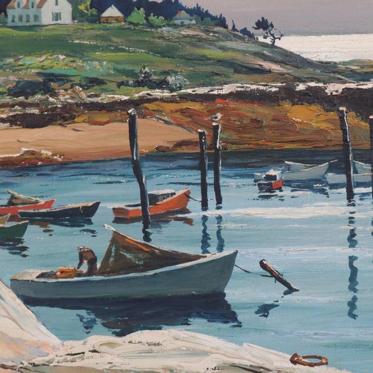 American Oil on Canvas Harbor Scene