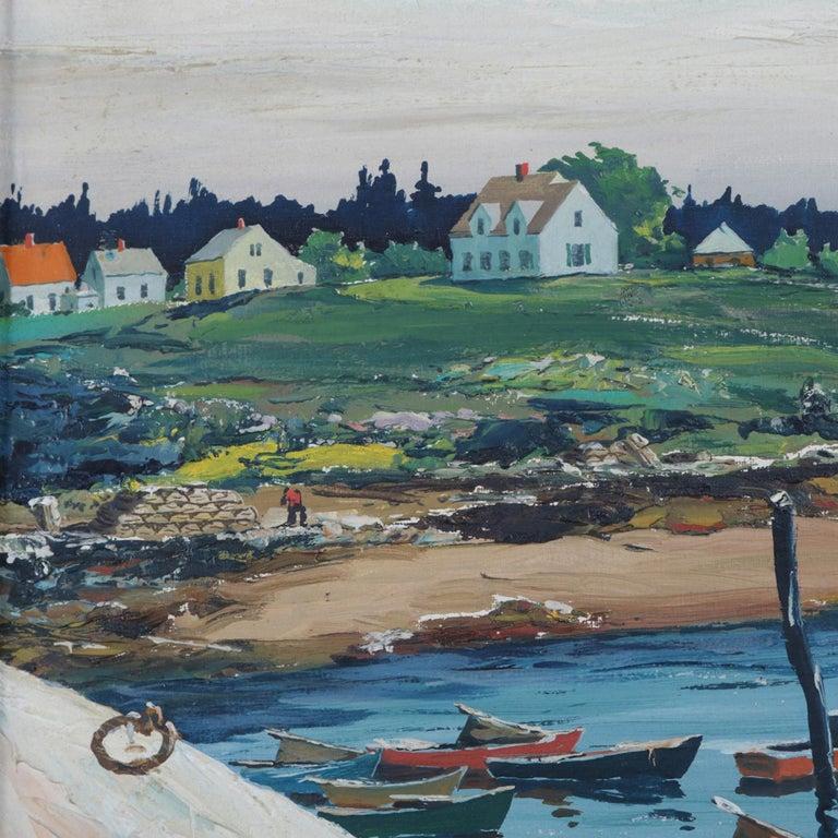 Hand-Painted Oil on Canvas Harbor Scene