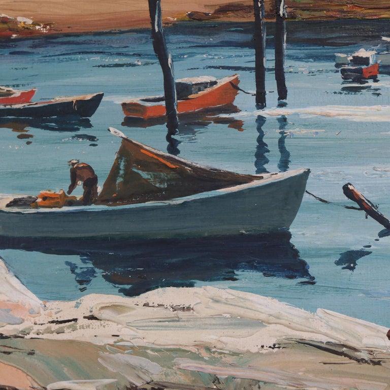 20th Century Oil on Canvas Harbor Scene