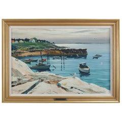 """Oil on Canvas Harbor Scene """"Fisherman's Landing"""" by Carl Ivar Gilbert"""