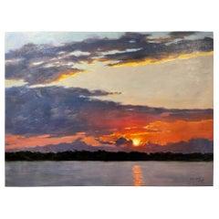 """Oil on Canvas """"Holy Moment"""", (Sunset Scene) Mary Segars"""