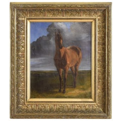 """Oil on Canvas, Horse Portrait, """"Before the Storm"""", Signed 1875"""