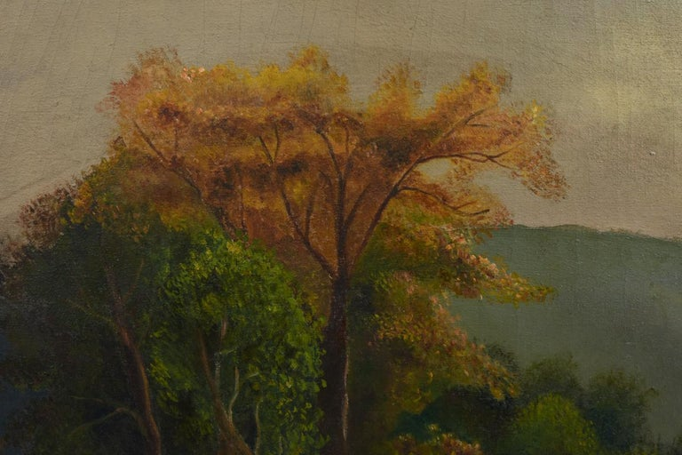 American, 19th-early 20th century, Hudson Valley river school painting oil on canvas by Jessie a rice caldwell. The painting measure about 23 inches x 36 inches. The frame is about 28 inches x 42 inches.