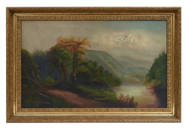 Oil on Canvas Hudson Valley River School Painting For Sale 1