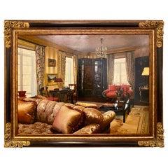 Oil on Canvas Interior Home Design in a Custom Frame, Signed Feldman