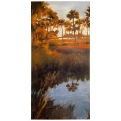 """Oil on Canvas """"Late Afternoon at the Lagoon"""", Mary Segars"""