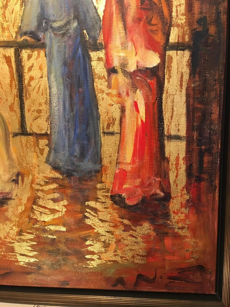 Contemporary Acrylic and Gold on Canvas