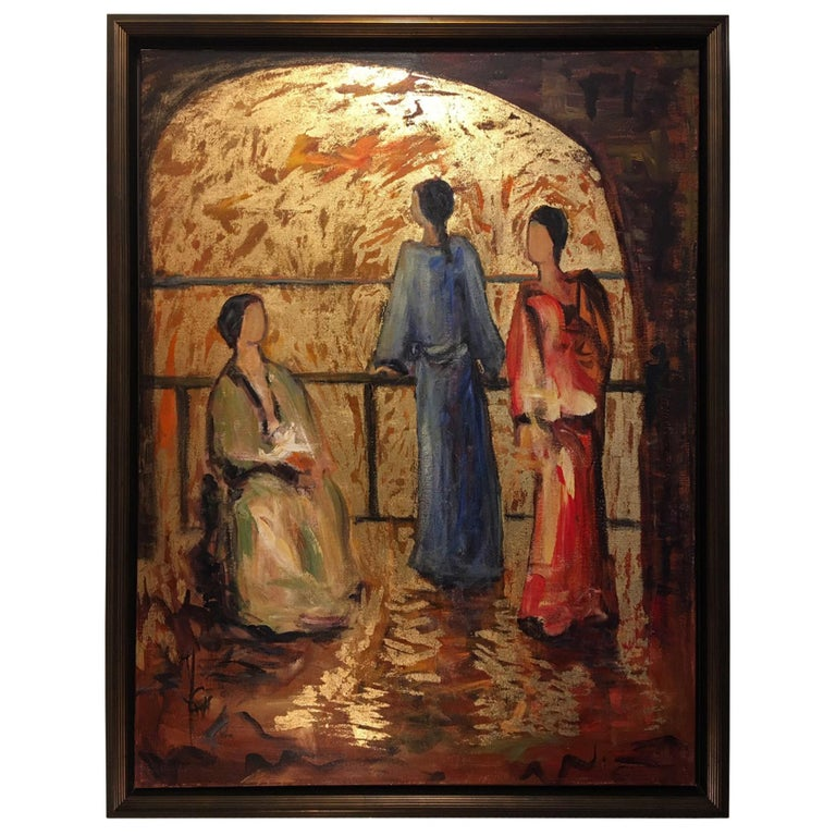 "Acrylic and Gold on Canvas ""Le Regard Vers L'Horizon"", Jacqueline Carcagno, 2017 For Sale"