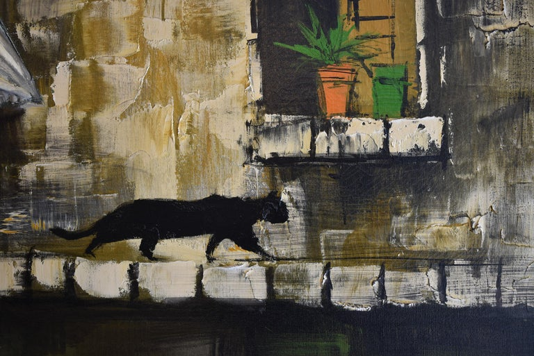20th Century Oil On Canvas Lee Reynolds Impressionist Black Cat 3D Blowing Curtain For Sale