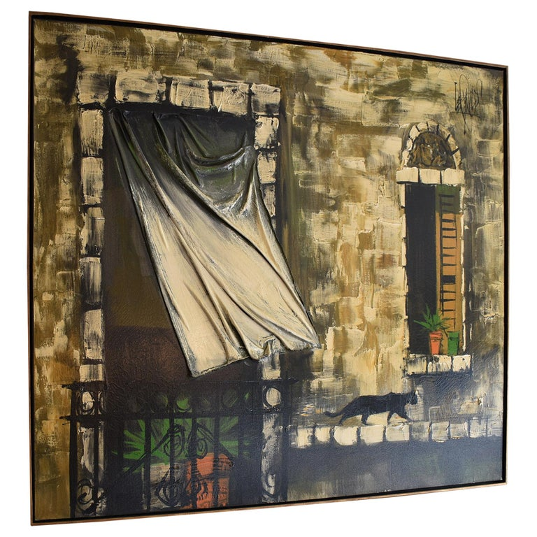 Oil On Canvas Lee Reynolds Impressionist Black Cat 3D Blowing Curtain For Sale