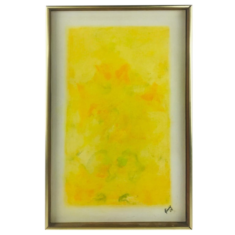 """Oil on Canvas Listed Artist Sheila Isham """"Abstract Yellows"""" For Sale"""