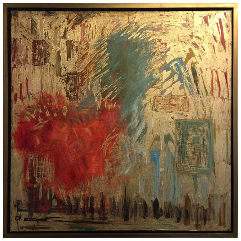 """Acrylic and Gold Leaf on Canvas """"Memory and Form"""" - Jacqueline Carcagno, 2017 For Sale"""