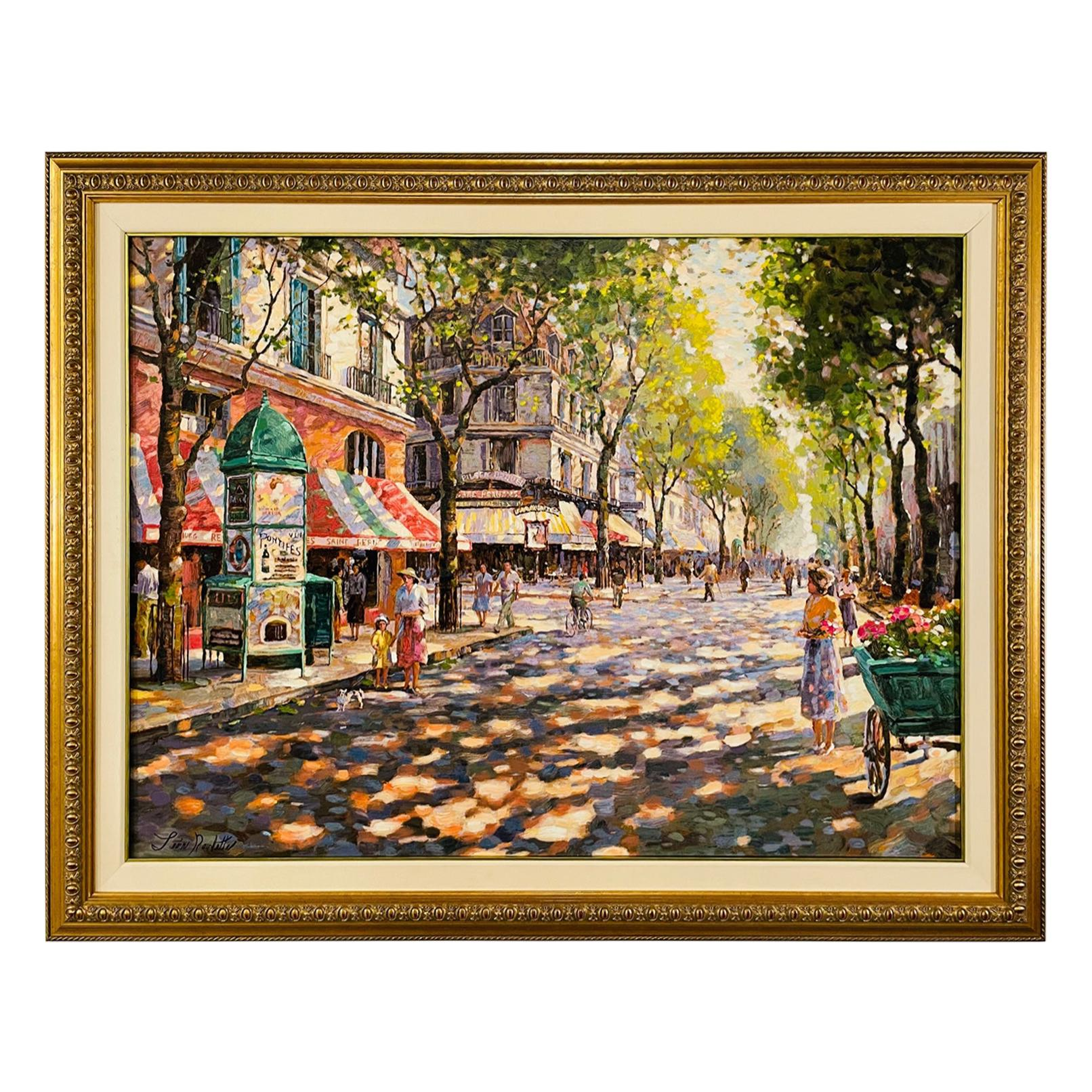 """Oil on Canvas Mixed Media Painting Titled """" Cafe Francais"""" by Leon Roulette"""