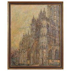 Oil on Canvas, Notre Dame Cathedral, Second Quarter of the 20th Century