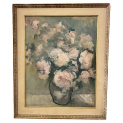 Oil on Canvas of a Bouquet of Roses Signed Magnin