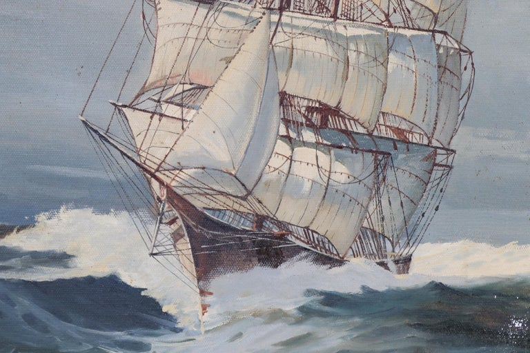 Oil on Canvas of a Clipper Ship In Good Condition For Sale In Norwell, MA