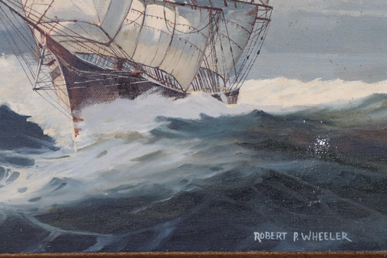 20th Century Oil on Canvas of a Clipper Ship For Sale