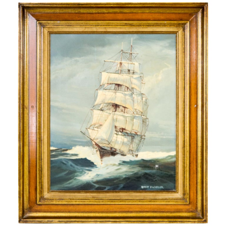 Oil on Canvas of a Clipper Ship For Sale