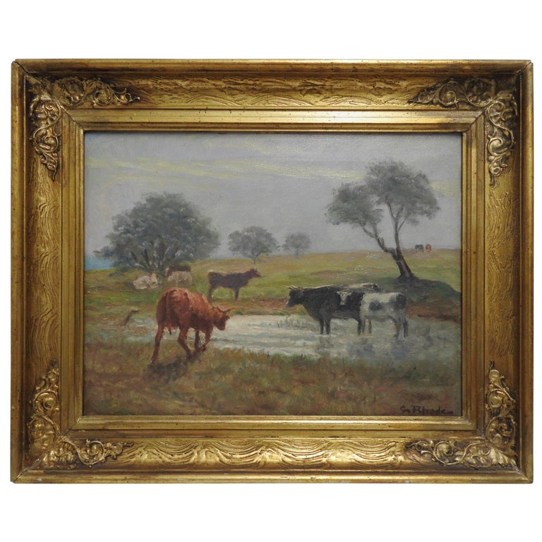 """This is lovely oil on canvas of a country landscape. The work depicts a group of cows grazing in a field with a pond. This piece appears to be signed """"G Rhede"""" on lower right of the canvas, but an accurate artist attribution could not be made for"""