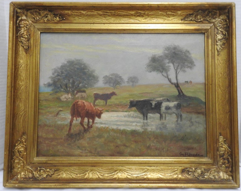 Victorian Oil on Canvas of a Country Landscape by Rhede For Sale