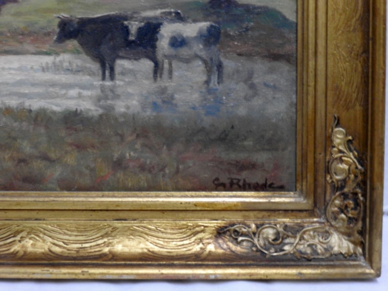 British Oil on Canvas of a Country Landscape by Rhede For Sale