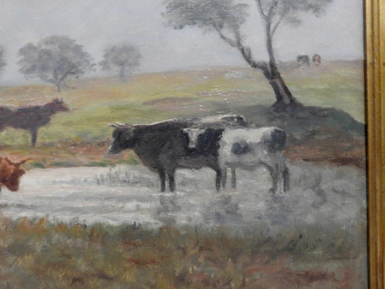 Hand-Painted Oil on Canvas of a Country Landscape by Rhede For Sale