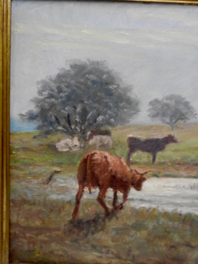 Oil on Canvas of a Country Landscape by Rhede In Fair Condition For Sale In Cookeville, TN