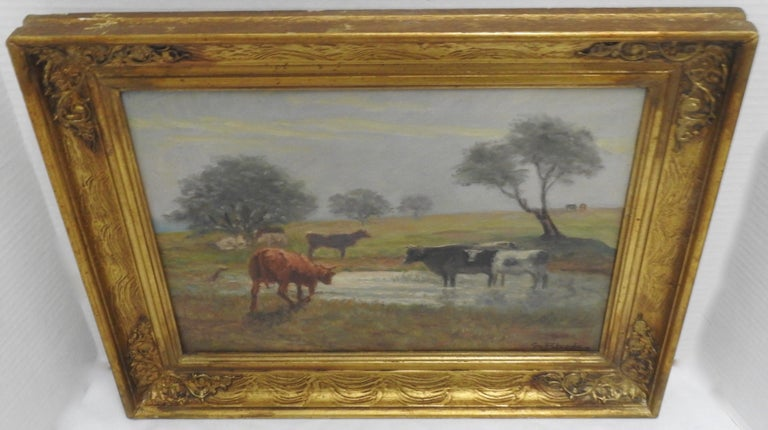 19th Century Oil on Canvas of a Country Landscape by Rhede For Sale