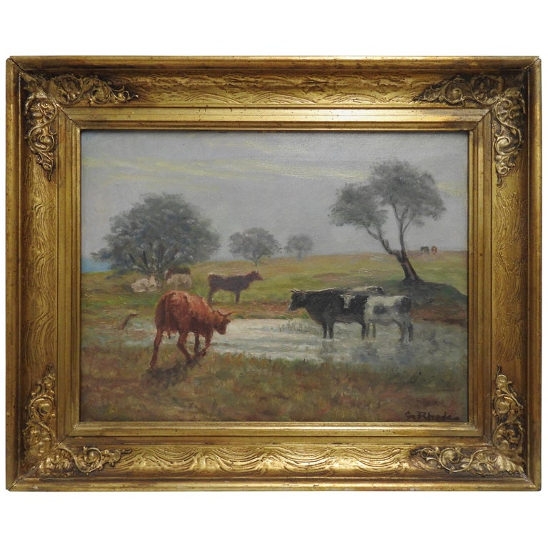 Oil on Canvas of a Country Landscape by Rhede For Sale