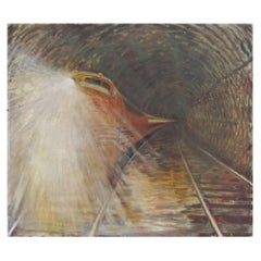 Oil on Canvas of a Fast, 1950s-1960s Train in Tunnel