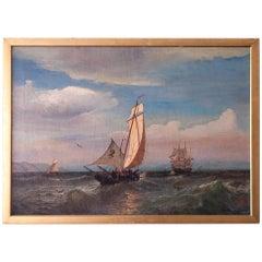 Oil on Canvas of a Regatta on a Choppy Sea, Julian O. Davidson, Dated 1877