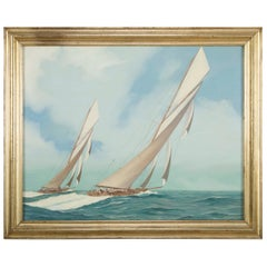 Oil on Canvas of a Scene from the 1903 America's Cup Race