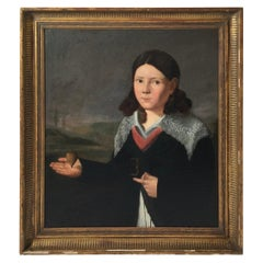 Oil on Canvas of a Young Bow with Lace Collar