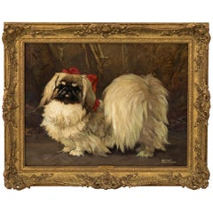 Oil on Canvas of Dog by Harry Roundtree, circa 1930