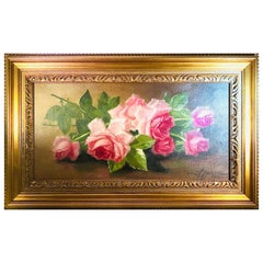 Oil on Canvas of Pink Roses Signed J. C. Spencer and Dated 1916