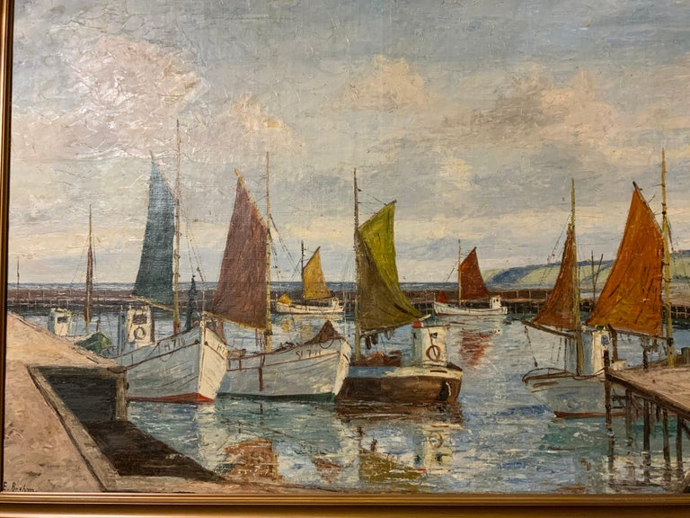 Oil on Canvas of Sea Scape of Swiss Boats in Harbor by Emil Brehm, 1880-1954 In Good Condition For Sale In Houston, TX