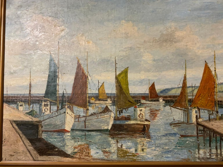 Late 19th Century Oil on Canvas of Sea Scape of Swiss Boats in Harbor by Emil Brehm, 1880-1954 For Sale