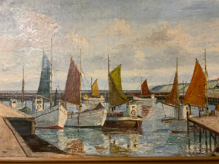 Paint Oil on Canvas of Sea Scape of Swiss Boats in Harbor by Emil Brehm, 1880-1954 For Sale