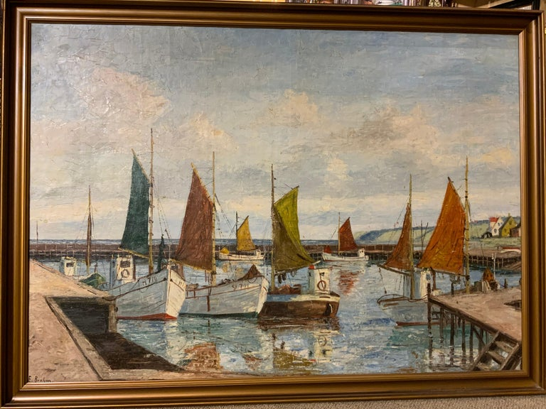 Oil on Canvas of Sea Scape of Swiss Boats in Harbor by Emil Brehm, 1880-1954 For Sale 1