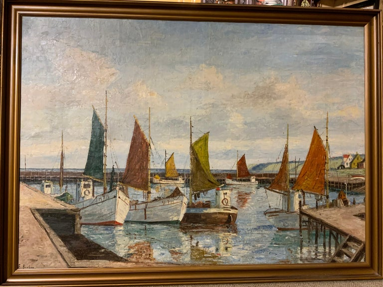 Oil on Canvas of Sea Scape of Swiss Boats in Harbor by Emil Brehm, 1880-1954 For Sale 2